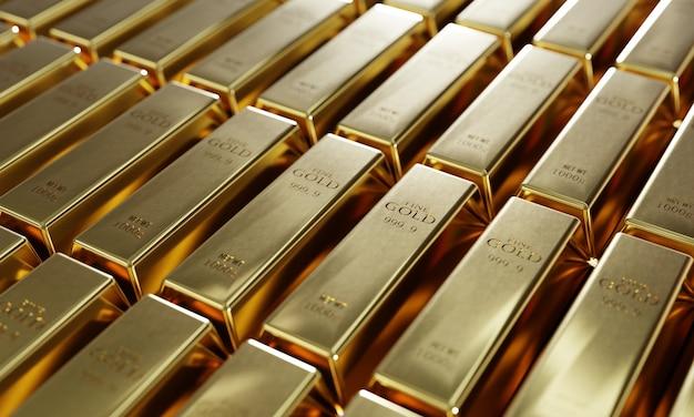 Glänzende reine goldbarren in einem reihenhintergrund