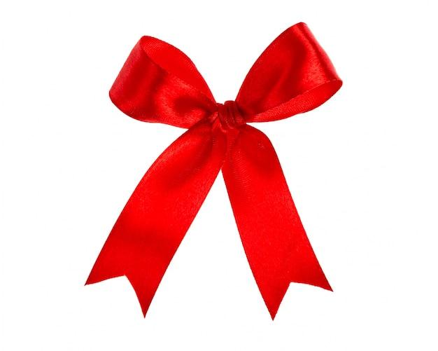 Glänzende rote schleife auf weißem hintergrund mit kopie raum