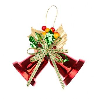 Glänzende rote weihnachtsglocken verziert