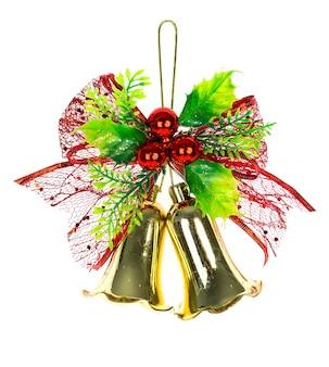 Glänzende weihnachtsglocken verziert