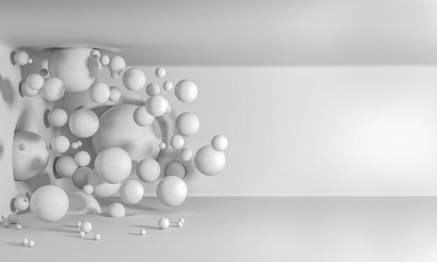 Glänzende weiße ballons fliegen durch die luft und krachen gegen wände und decken