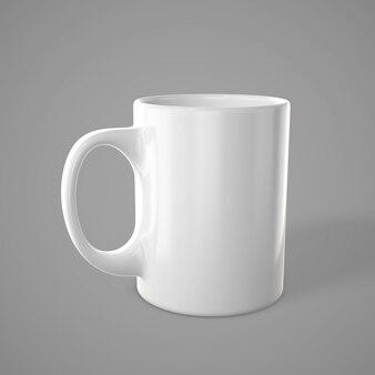 Glänzende weiße tasse. leere teetasse. 3d-rendering.