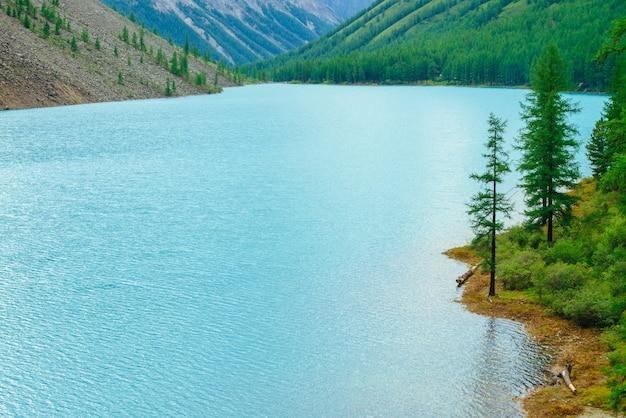 Glänzende wellen auf der wasseroberfläche des blauen bergsees im tal. wunderbare berge. nadelwald am berghang im sonnenlicht. lärche am wasserrand. landschaft der majestätischen natur des hochlands.