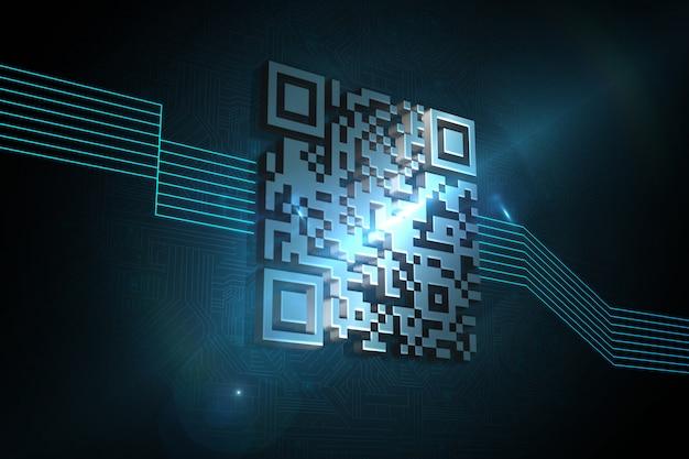 Glänzender barcode auf schwarzem hintergrund
