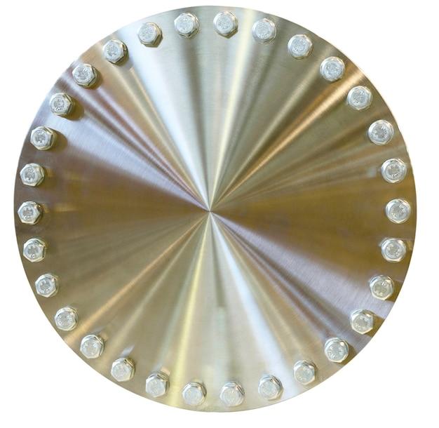 Glänzender metallkreis mit schrauben am umfang. goldene farbe. auf weißem hintergrund isoliert.