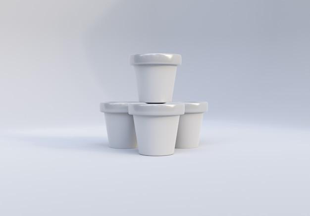 Glänzendes eisbecherverpackungsmodellbild auf weißem hintergrund