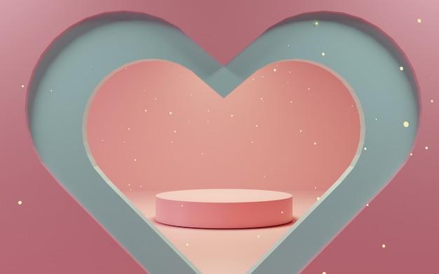 Glänzendes luxuspodest für ihr design. rosa geschenkbox, rosa ballon und herz auf pastellhintergrund. fröhlichen valentinstag.