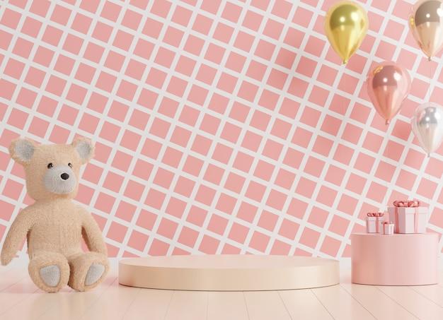 Glänzendes luxuspodest für ihr design. rosa geschenkbox, teddybär und rosa ballon auf pastellhintergrund. fröhlichen valentinstag.