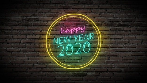 Glänzendes neonlampenzeichen des guten rutsch ins neue jahr glühen auf schwarze backsteinmauer. buntes zeichenbrett mit buntem glühendem text guten rutsch ins neue jahr 2020 im kreis für parteidekoration
