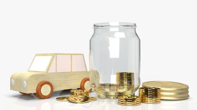 Gläser mit münzen und autoholz zum speichern von 3d-rendering.
