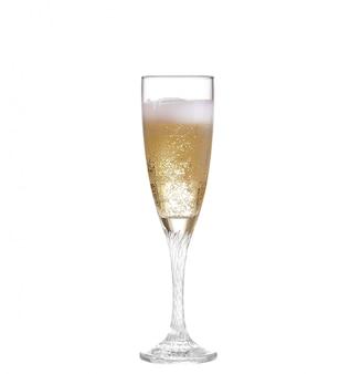 Glas champagner, lokalisiert auf weiß