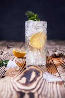 Glas frisches selterswasser mit eiszitrone und minze