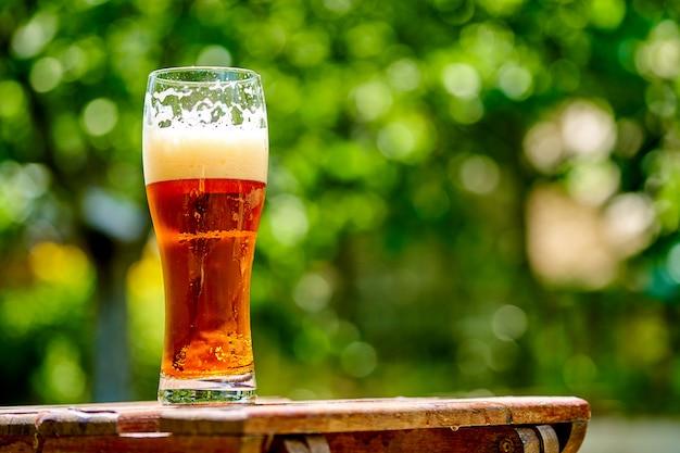 Glas helles bier auf dem holztisch