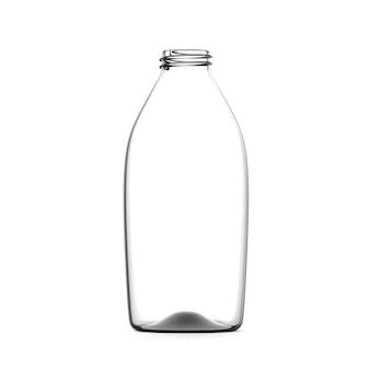 Glas leere flasche isoliert transparenter flüssigkeitsbehälter mockup geöffneter artikel für packungswerbung