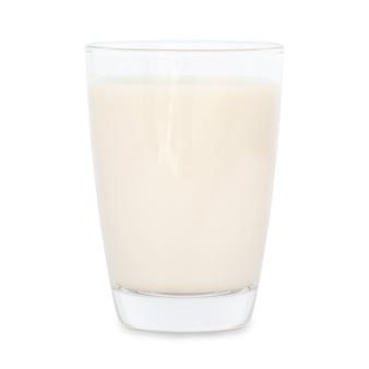Glas milch lokalisiert auf weißem hintergrund. soja milch.