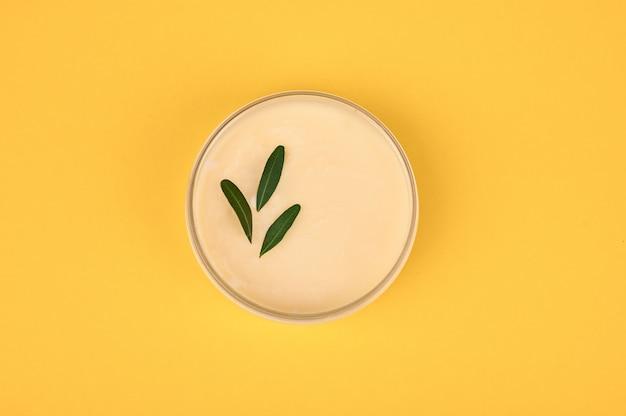 Glas mit gemüsecreme auf gelbem grund. sicht von oben. platz für die inschrift