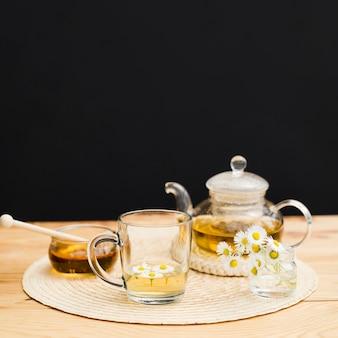 Glas mit teekanne und honigglas