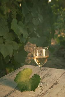 Glas mit weißwein im weinberg auf altem tisch