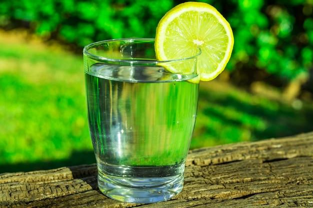 Glas reines wasser mit zitronenkeilkreis auf hölzernem klotz, anlagen des grünen grases