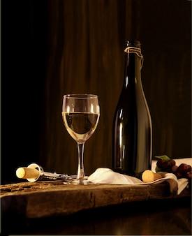 Glas und flasche weißwein auf schwarzem holzhintergrund weinkartendesign mit exemplar