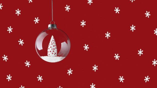 Glas weihnachtskugeldekoration mit weihnachtsbaum