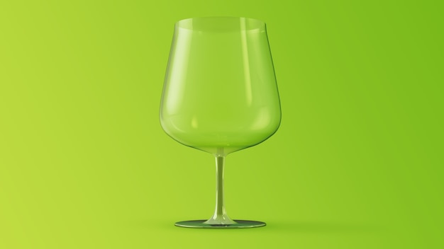 Glas wein wein 3d rendering-modell auf grünem hintergrund