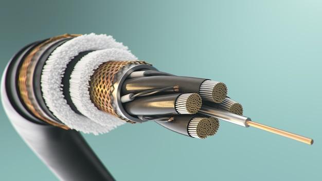 Glasfaserkabel auf farbigem hintergrund. zukünftige kabeltechnologie. detaillierter kabelquerschnitt