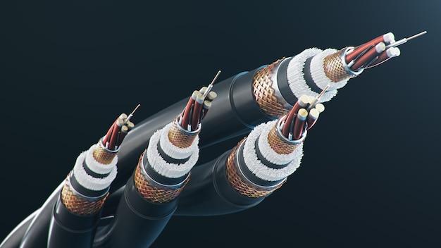 Glasfaserkabel auf farbigem hintergrund. zukünftige kabeltechnologie.