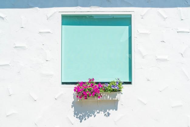 Glasfenster auf weiße wand mit blumentopf