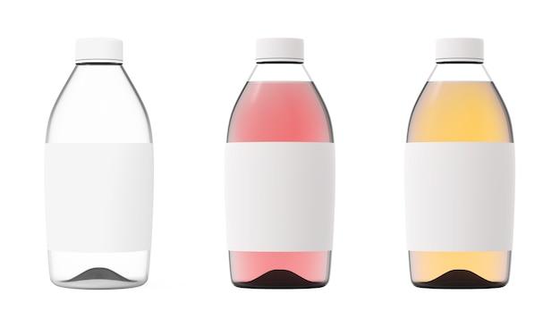 Glasflaschensatz isoliert auf weißem hintergrund transparenter flüssigkeitsbehälter farbmodell