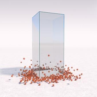 Glaskäfig als schutz vor covid 19-viren. 3d rendern