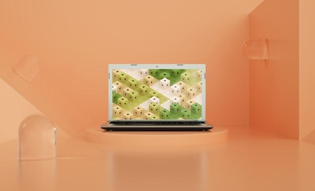 Glaskapsel-laptop-modell