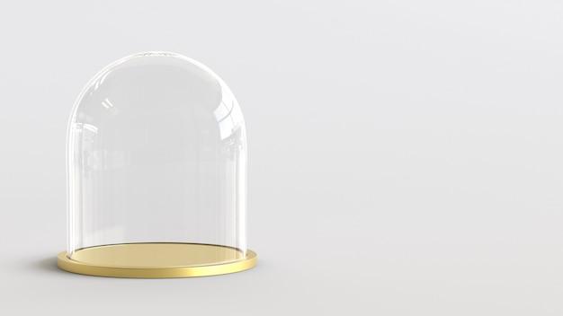 Glaskuppel mit goldenem behälter auf weißem hintergrund. 3d-rendering.