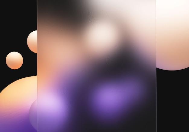 Glasmorphismus 3d-darstellung transparentes element mit flüssigem formverlaufshintergrund 3d