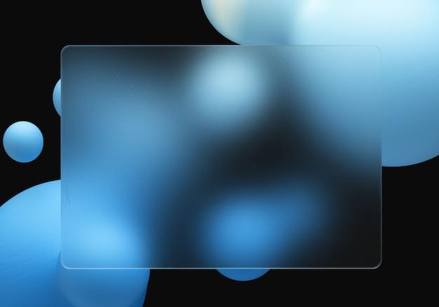 Glasmorphismus-effekt auf das plastische quadrat auf den flüssigen elementen
