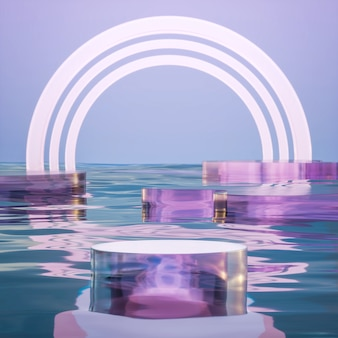 Glaspodest bühnenstand auf meerwasser fantasy hintergrund 3d-rendering