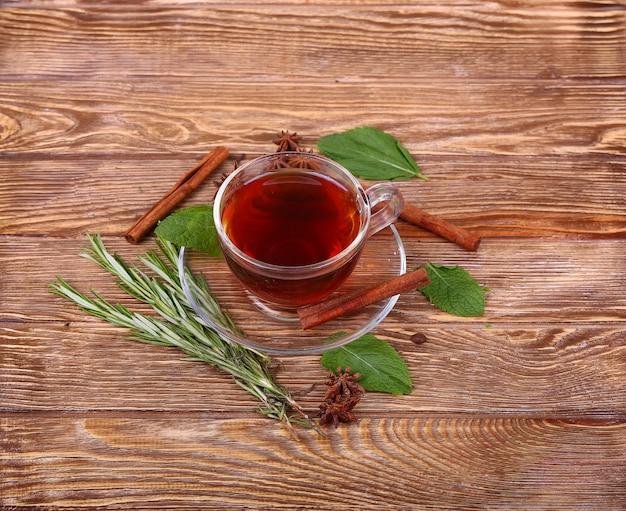 Glasschale des grünen tees mit zimtstangen auf einem hölzernen tischhintergrund.