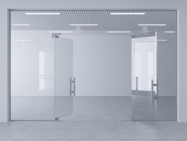 Glastrennwand und türen im büro oder in der ladenhalle.