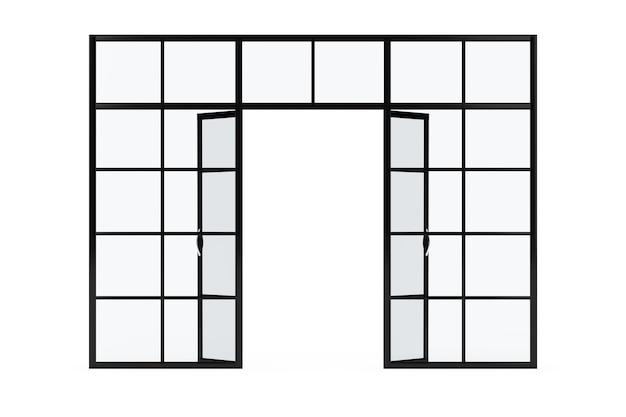 Glaswand, glasraumteiler mit türen auf weißem hintergrund. 3d-rendering