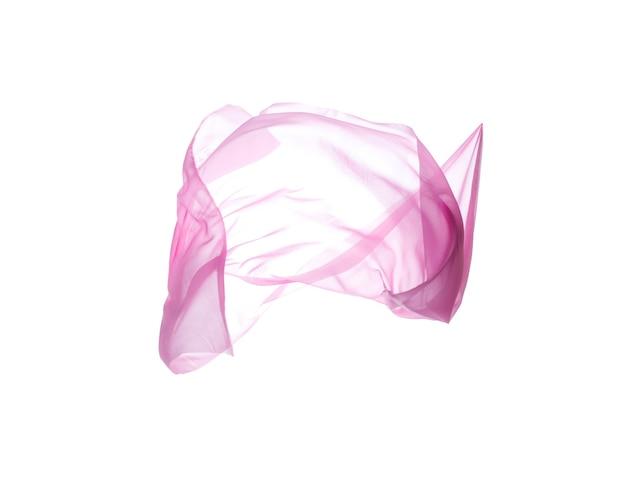 Glattes elegantes transparentes rosa tuch, flying blowing silk, textur des fliegenden stoffes. getrennt mit beschneidungspfaden über weißem hintergrund.