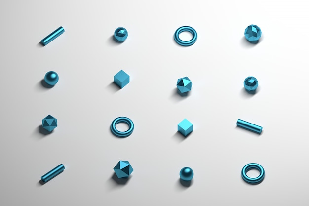 Gleichmäßig verteilte kleine poligonale grundformen mit metallisch blauer textur auf der weißen reflektierenden oberfläche.