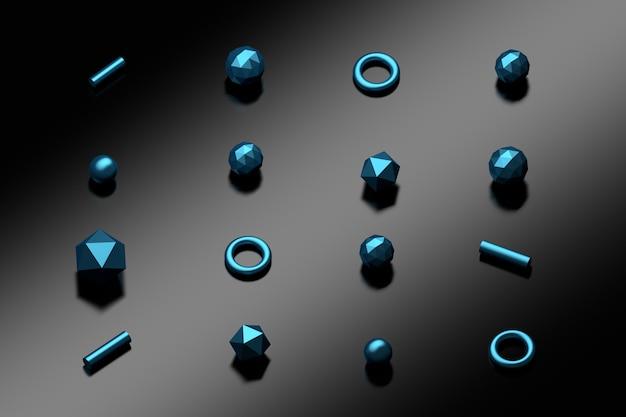 Gleichmäßig verteilte poligonale grundformen mit metallisch blauer textur auf der dunkelschwarzen reflektierenden oberfläche.