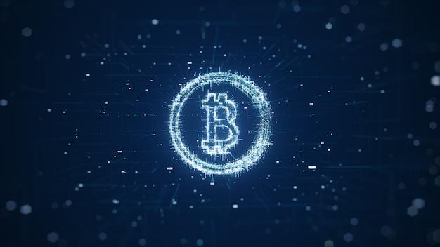 Globale abstrakte bitcoin crypto currency blockchain-technologie. digitale bitcoin-währung, futuristisches digitales geld, technologisches weltweites netzwerkkonzept. 3d-rendering.