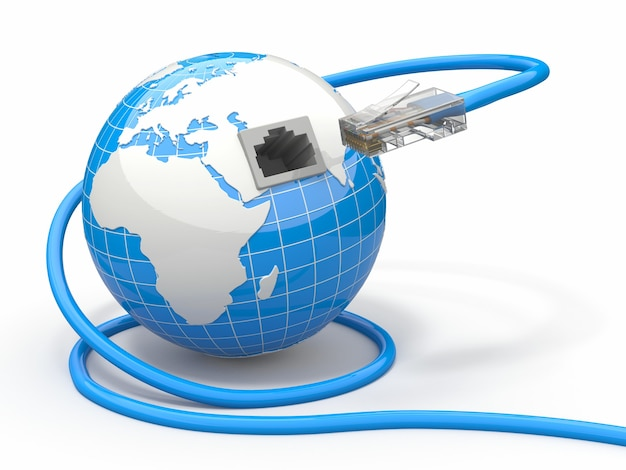 Globale kommunikation. erde und kabel, rj45.
