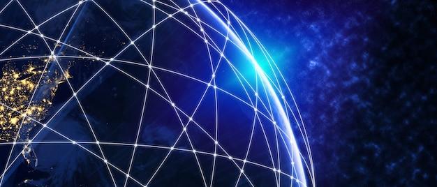 Globale moderne kreative kommunikation und internet-netzwerkkarte der 3d-illustration