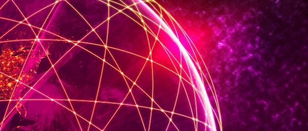 Globale moderne kreative kommunikations- und internet-netzwerkkarte der 3d-illustration
