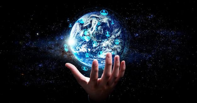 Globale netzwerkverbindung, die die erde mit der verbindung innovativer wahrnehmung verbindet