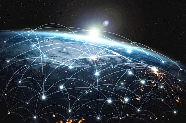 Globale netzwerkverbindung, die die erde mit innovativen wahrnehmungslinien bedeckt