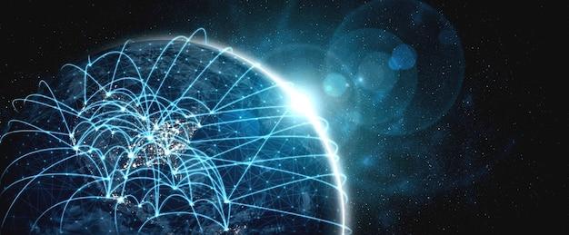 Globale netzwerkverbindung, die die erde mit linien innovativer wahrnehmung bedeckt