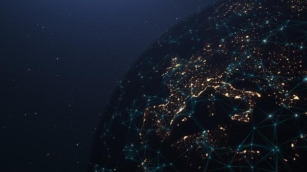 Globale netzwerkverbindung. globales netzwerk der kommunikationstechnologie. globales weltnetzwerk und telekommunikation auf der erde kryptowährung und blockchain und iot. elemente dieses von der nasa bereitgestellten bildes